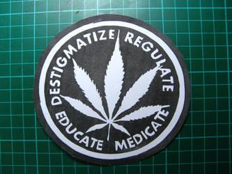 D.R.E.M Weed leaf sticker (linocut) by el-Barto-Stencils