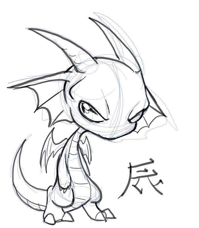 It's just a picture of Exhilarating Chibi Dragon Drawing