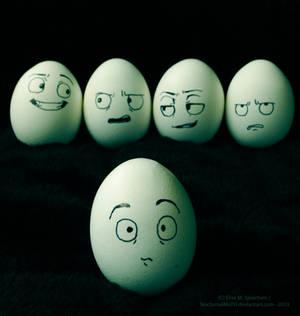 -Hey, have you heard what Eggbert did?-