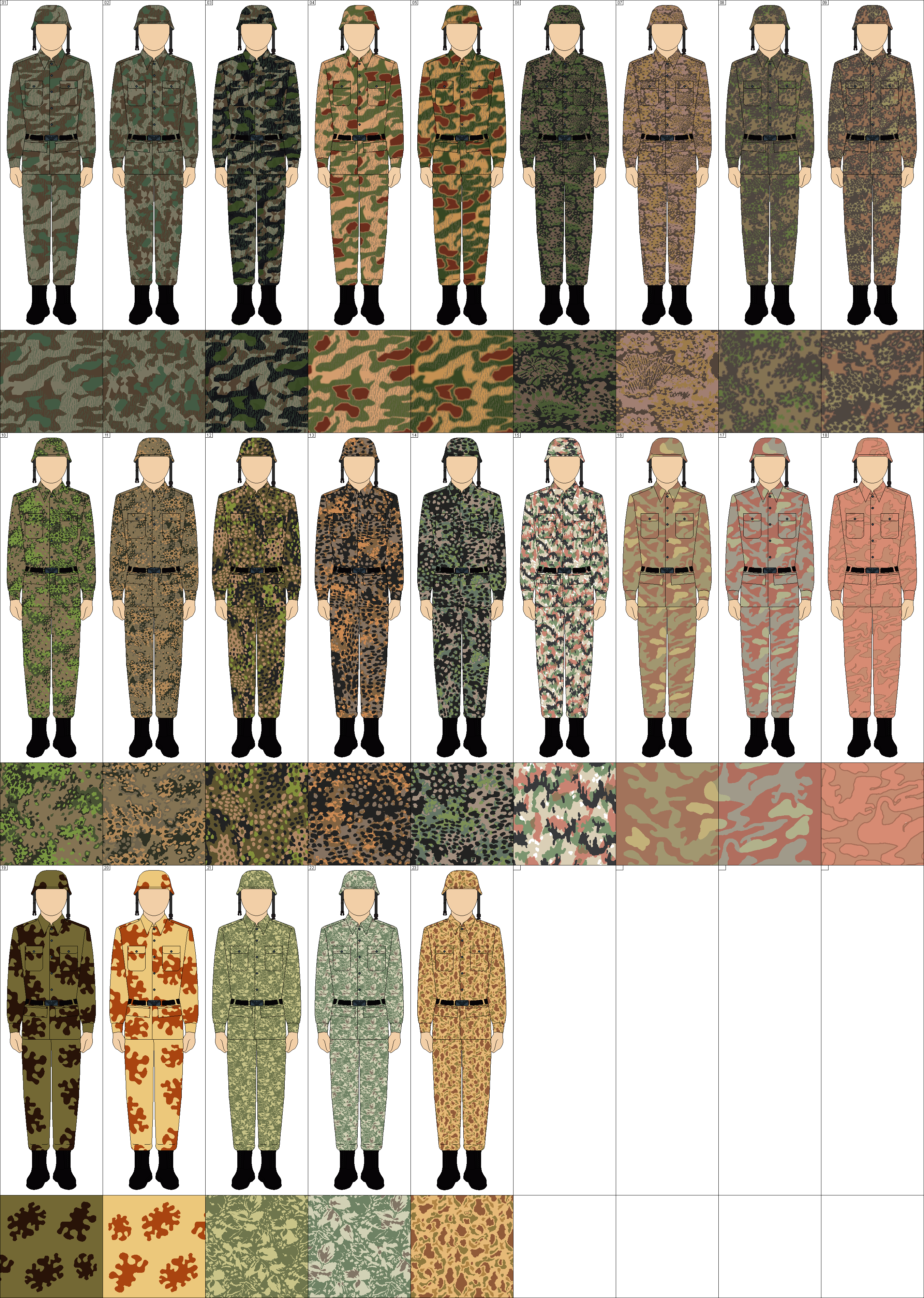 Camouflage Colored Cloth Based With Dark Green Khaki And Black