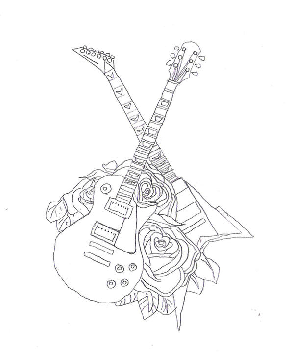 Guitar Tattoo Design Contour By KingDinko