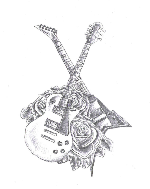 Guitar Tattoo Design by KingDinko