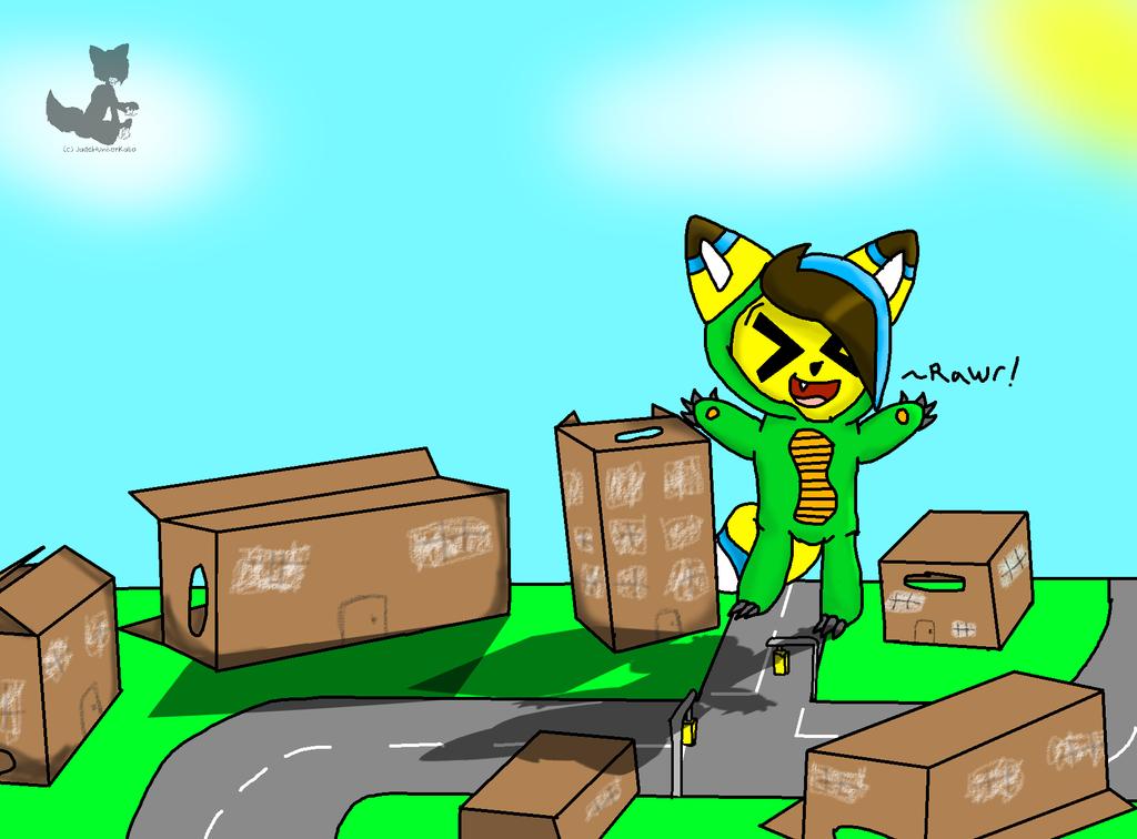 Jade playing in a cardboard city by JadeHunterKato