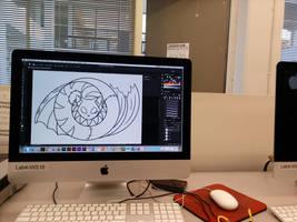 Clyde Logo preliminary and work desk