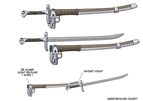 2-hand Messer and Revolver Scabbard by Mechamastermind