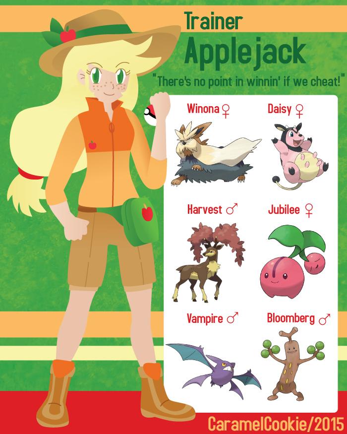 My Little Pokemon Trainer - Applejack by CaramelCookie