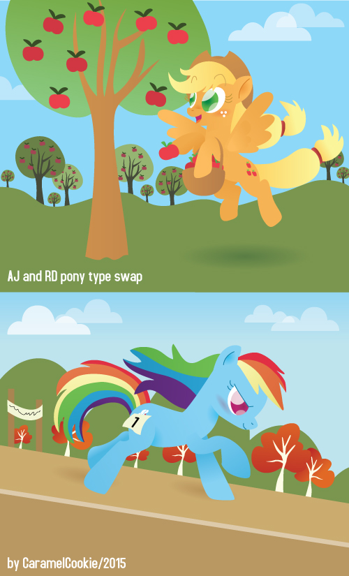 Switched Pony types - AJ and RD by CaramelCookie