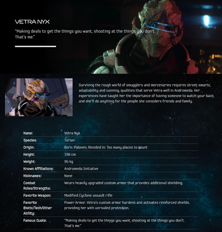 ME:A Dossier -- Vetra Nyx by Marco124