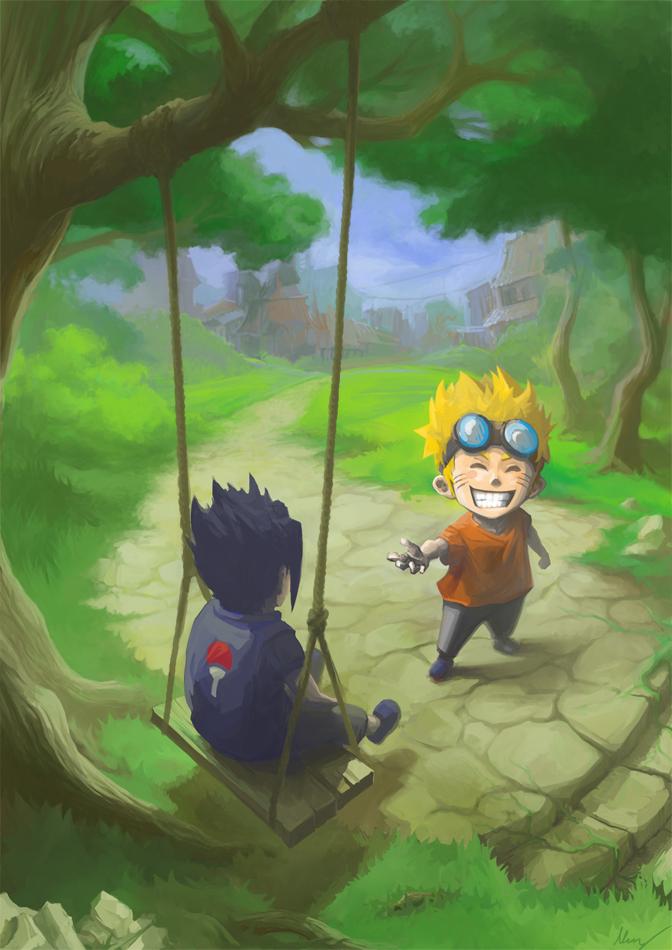 Imagens do Sasuke e do Naruto feitas por fãs