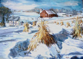 Winter Hay Stacks by Wulff-Arts