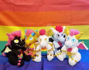 Pride Dragon Amigurumi Pile