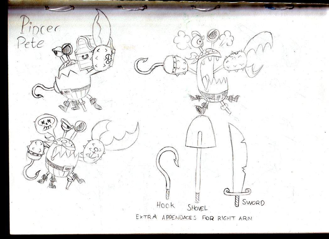 Pincer Pete sketches by BlackRobtheRuthless
