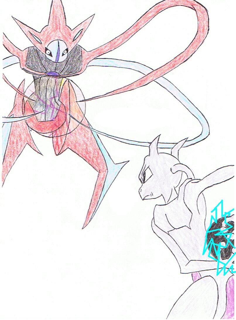 Deoxys vs Mewtwo by LordPlague on DeviantArt