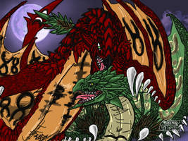 Happy Valentines Day Rathian and Rathalos by GenkoFox