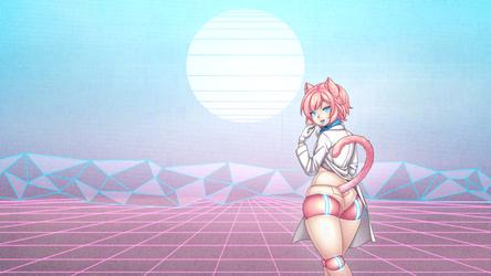 Pixel Vapourwave Wallpaper by cakecatboy