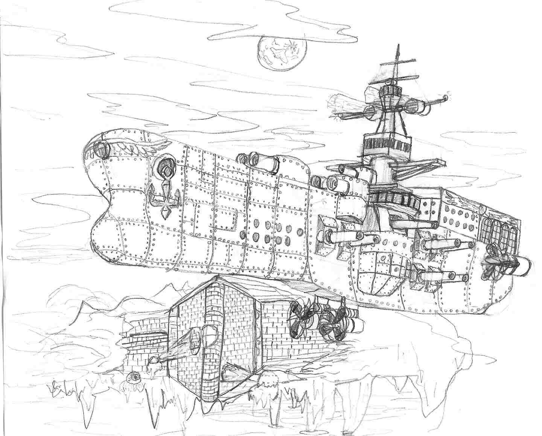 Valuan Battleship on Patrol by VentusAerus