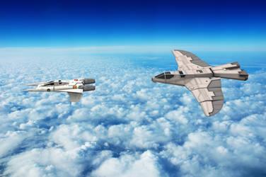 Buck Rogers Starfighter And Warhawk by peterhirschberg