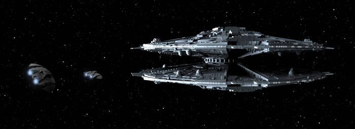 Cylon Basestar And Raiders by peterhirschberg