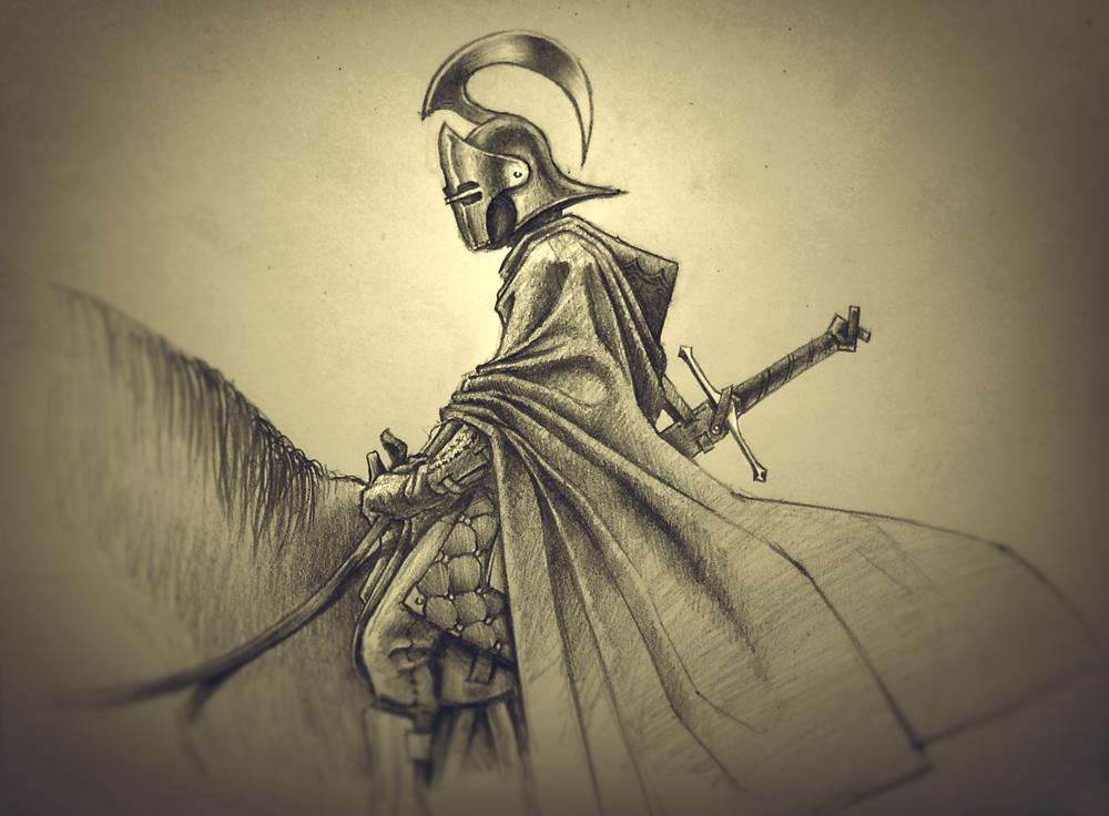 Knight pencil sketch by Shaka-zl