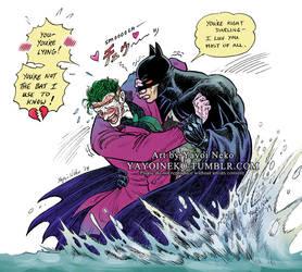 Batman and Joker at the waterfall