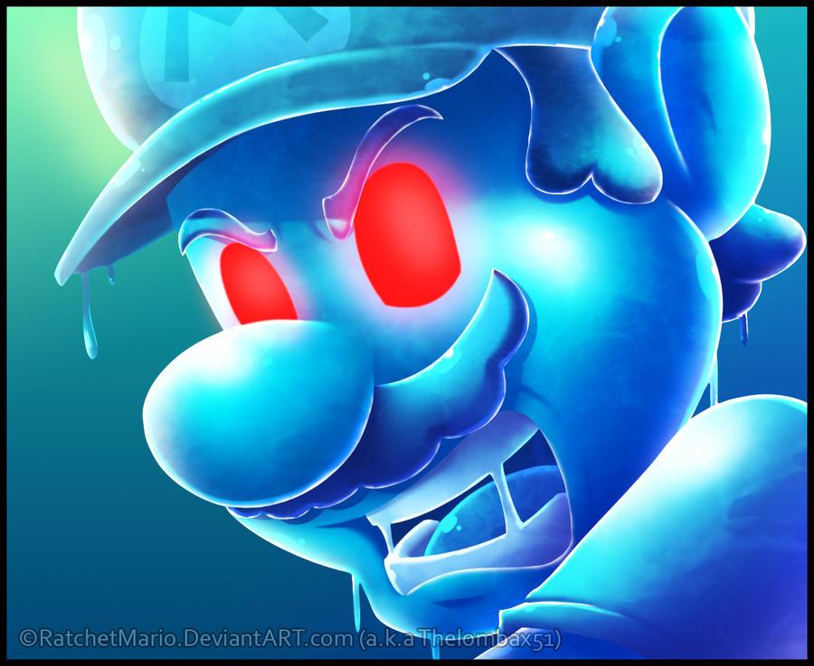 Shadow Mario's Face Looking by RatchetMario