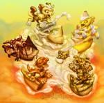 Pie dragon whelps cream dollop