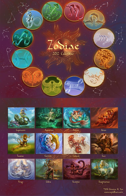 Deviantart Calendar : Zodiac calendar sale by the sixthleafclover on deviantart