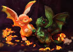 Candy Corn and Zombie dragons by The-SixthLeafClover