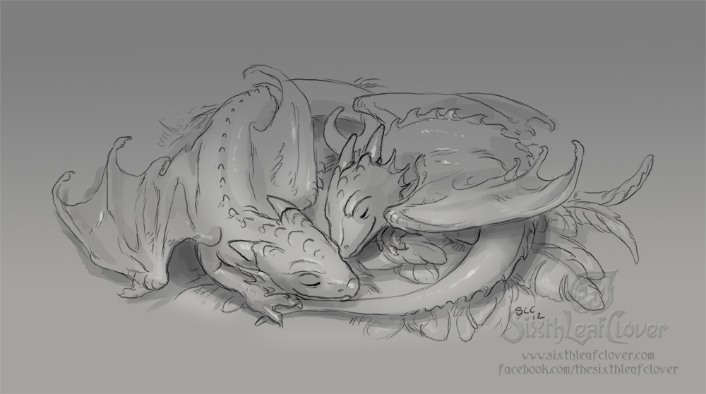 Line Art Dragon : Sleeping dragon whelps by the sixthleafclover on deviantart