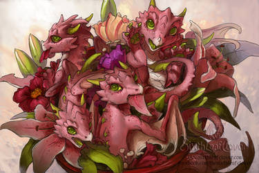 Flower Dragon Bouquet by The-SixthLeafClover
