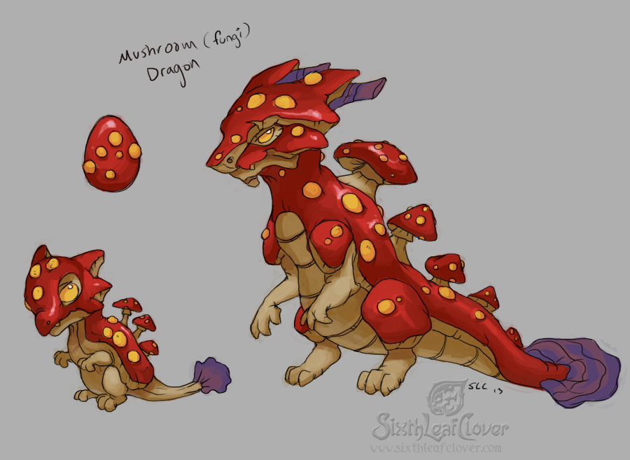 Mushroom Dragons by The-SixthLeafClover