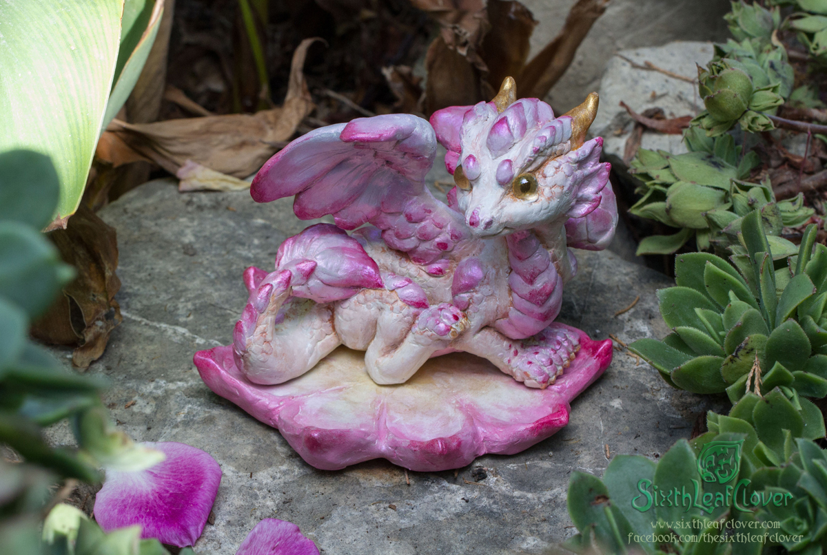 OOAK Lotus Dragon Hatchling sculpture by The-SixthLeafClover