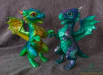 Peacock and Stardust Galaxy Dragon Hatchlings