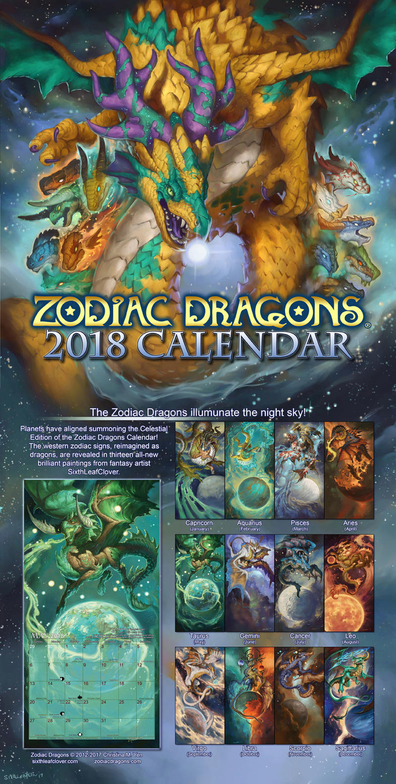 2018 Zodiac Dragons Calendars for New Year by The-SixthLeafClover ...
