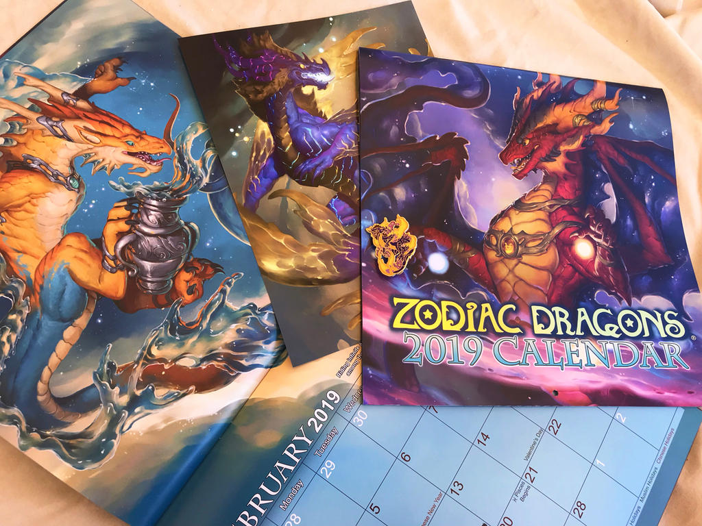 Pre-order open - 2019 Zodiac Dragons Calendar by The-SixthLeafClover