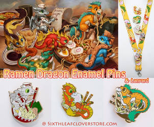Ramen Dragon Enamel Pins Now Available by The-SixthLeafClover