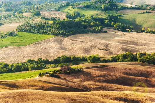 Montepulciano, view on rustic landscape, Tuscany