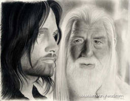 Aragorn and Gandalf by little-faerie-bits