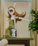 Asuka panics out of the shower 5