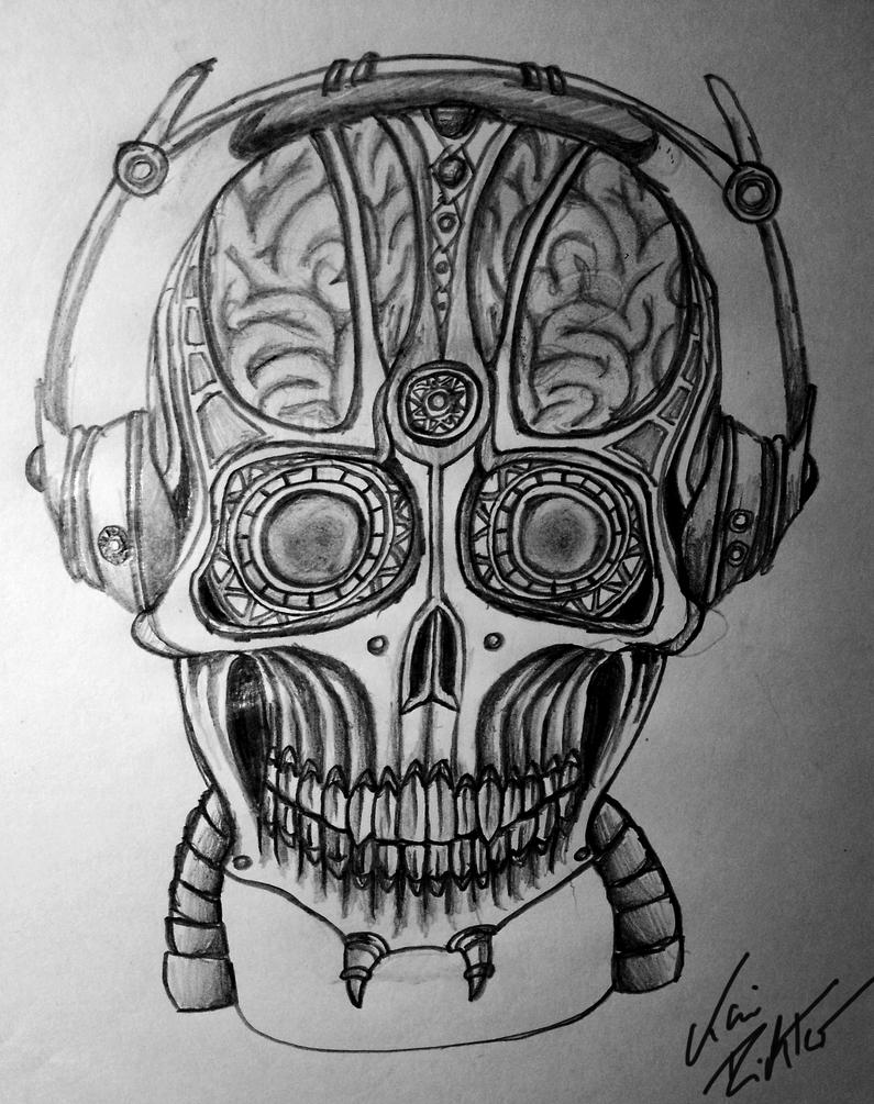 Listening Skull B/W by Der-KAIser92