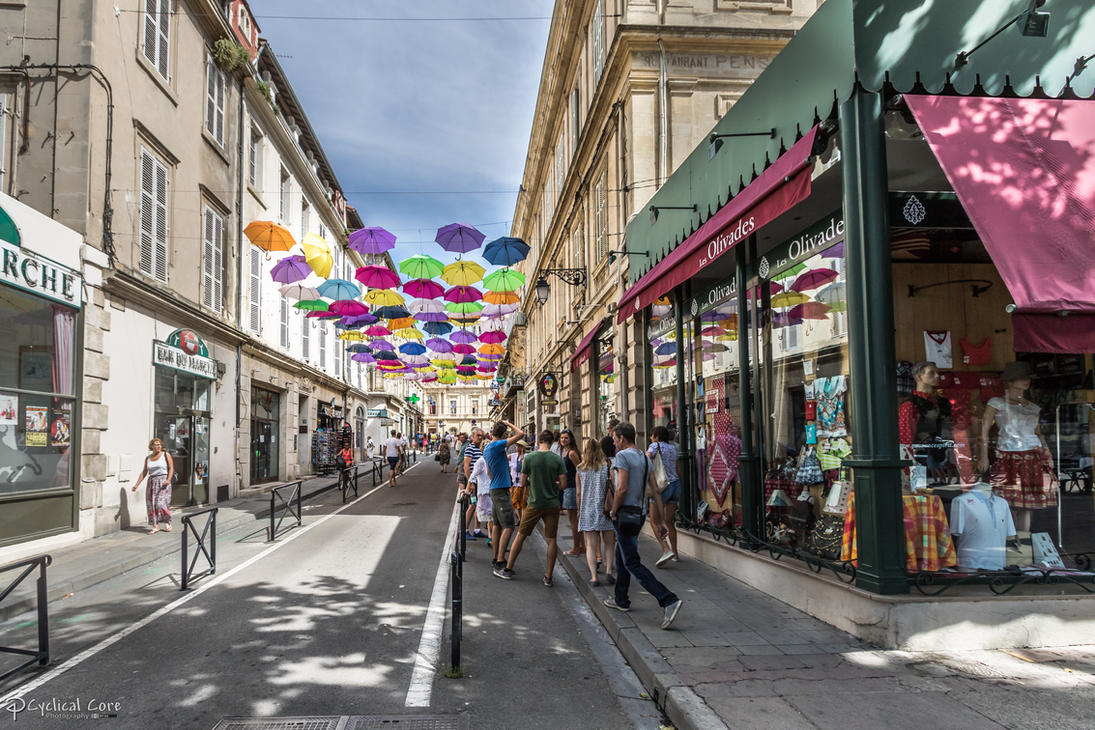 Street with colored umbrellas by CyclicalCore
