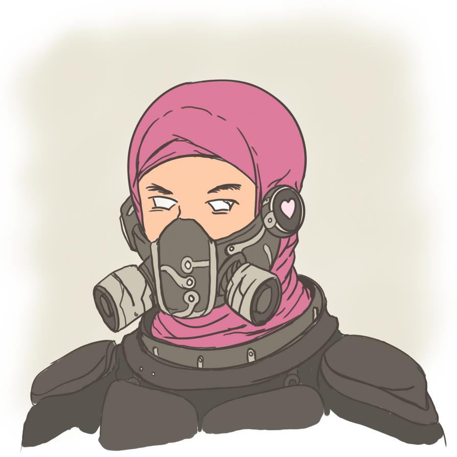 Cyberpunk Hijabgirl by novrian