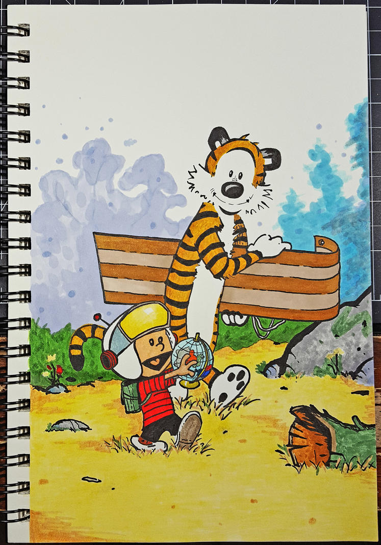 Calvin and Hobbes on another adventure! by teckwolf