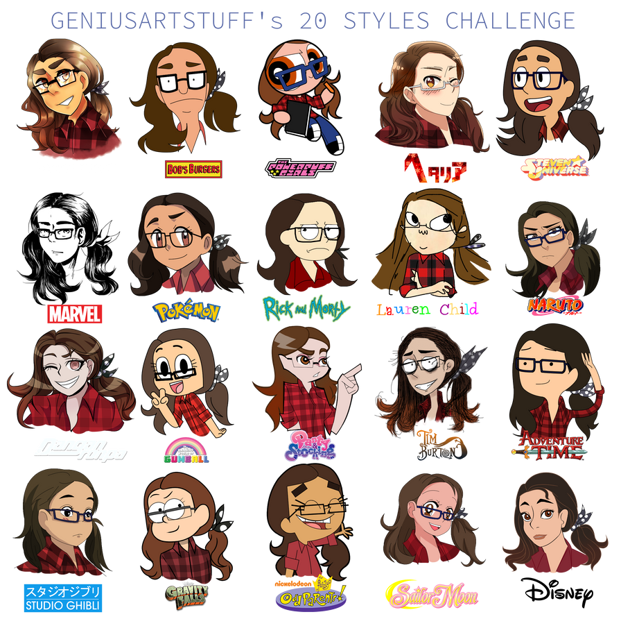 20 Styles Challenge No Base Used So Dont Ask By GeniusArtStuff