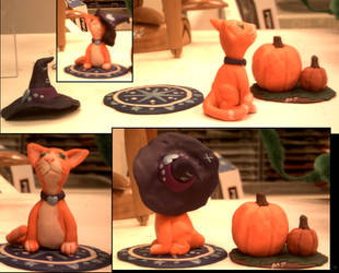 Orangecat and Pumpkin sculptures by ShiningamiMaxwell