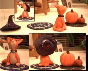 Orangecat and Pumpkin sculptures