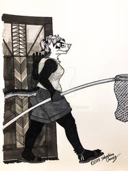 Inktober 2019: Peggy with a Pool Net  by ArtRock15