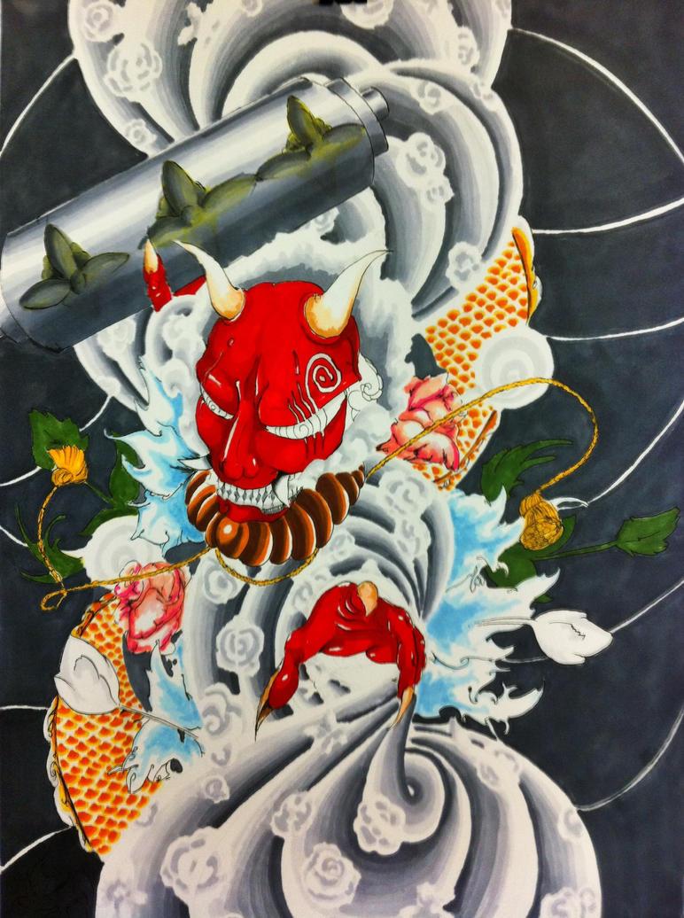 traditional japanese mask tattoo | ไอเดียรอยสัก, ลายสัก ... |Demon Japanese Traditional Designs