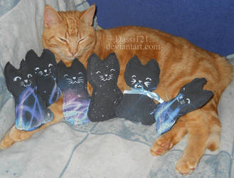 Rosi with 6 little galaxy kitten plushes by Dassi121