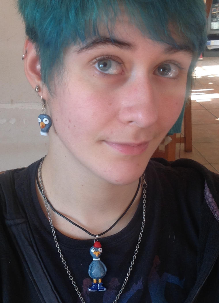 Silly pigeon necklace and earrings by Shoshannah84